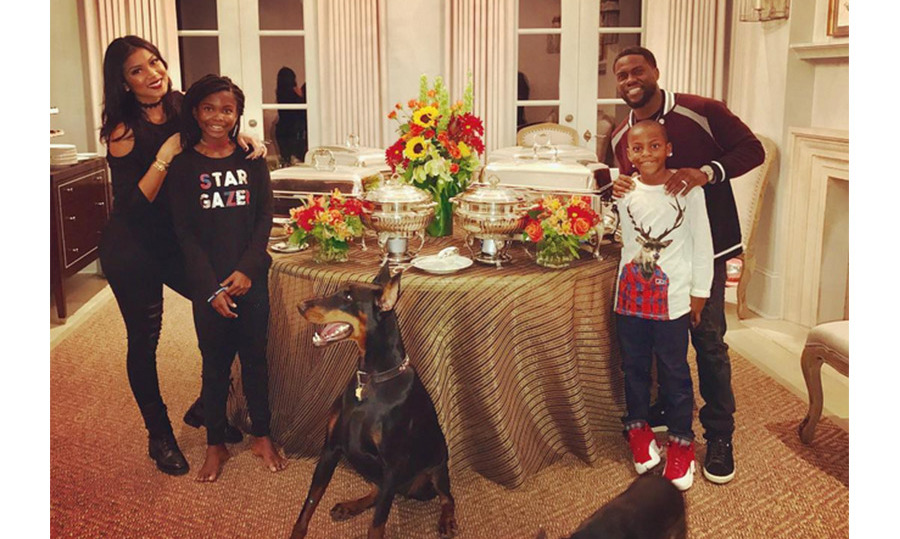 Kevin Hart and Eniko Parrish celebrated their first Thanksgiving as husband and wife with a buffet dinner.