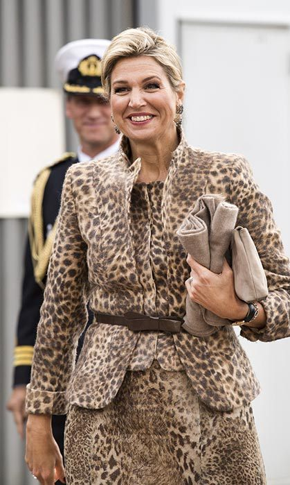 Queen Maxima took a sartorial walk on the wild side in this leopard-print ensemble.
