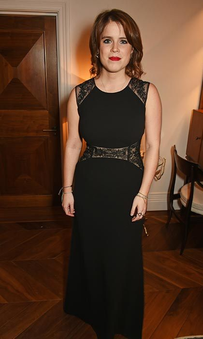 Princess Eugenie glammed up in a black evening gown with lace detailing for the Elephant Ball.
