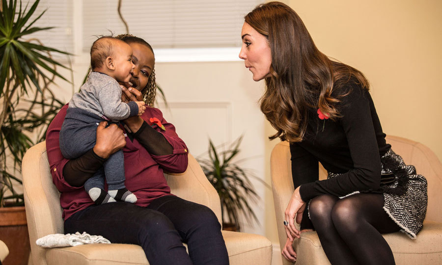 It was an adorable royal stare-off for the Duchess of Cambridge and four-month-old Gabriel at the Nelson Trust Women's Centre in Gloucester. Kate made a silly face with her new friend during her visit to the centre, which helps support women.