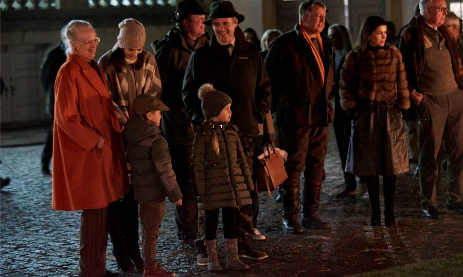 The Danish royals, including Crown Princess Mary, Prince Frederik, Princess Josephine, Prince Vincent and Queen Margrethe got in the holiday spirit during the royal hunting parade.<br>Photo: &copy; PA
