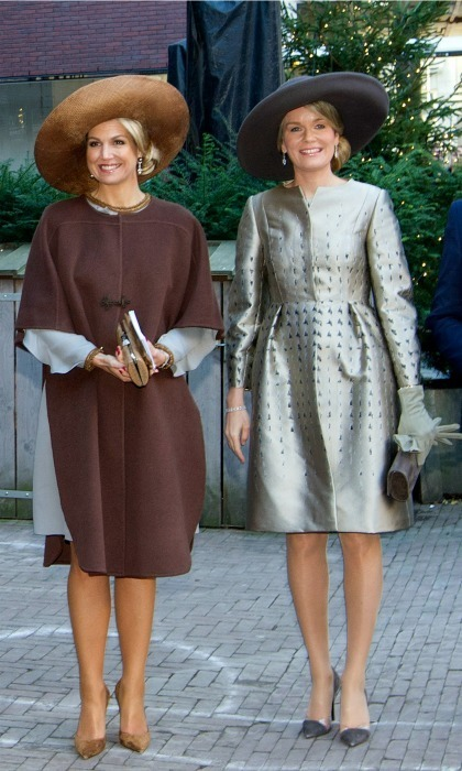 Queen Maxima and Queen Mathilde sported amazing headwear during the welcome ceremony on day one of the Belgian royals' trip to the Netherlands.<br>Photo: &copy; PA