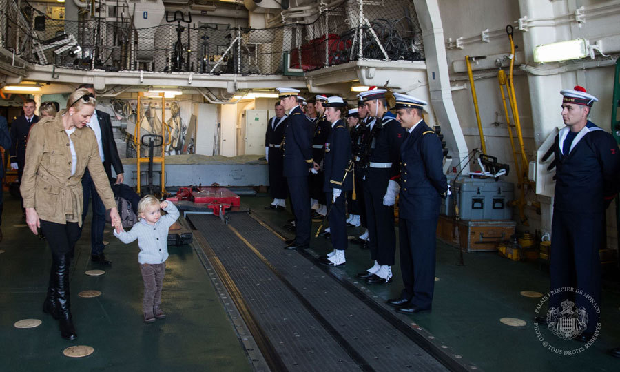 Prince Jacques gave a royal salute to naval men and women, while visiting the French frigate Guépratte with his mom, Princess Charlene, in honor of Monaco's National Day.<br>Photo: &copy; G. Luci, Eric Mathon et Axel Bastello / Palais Princier