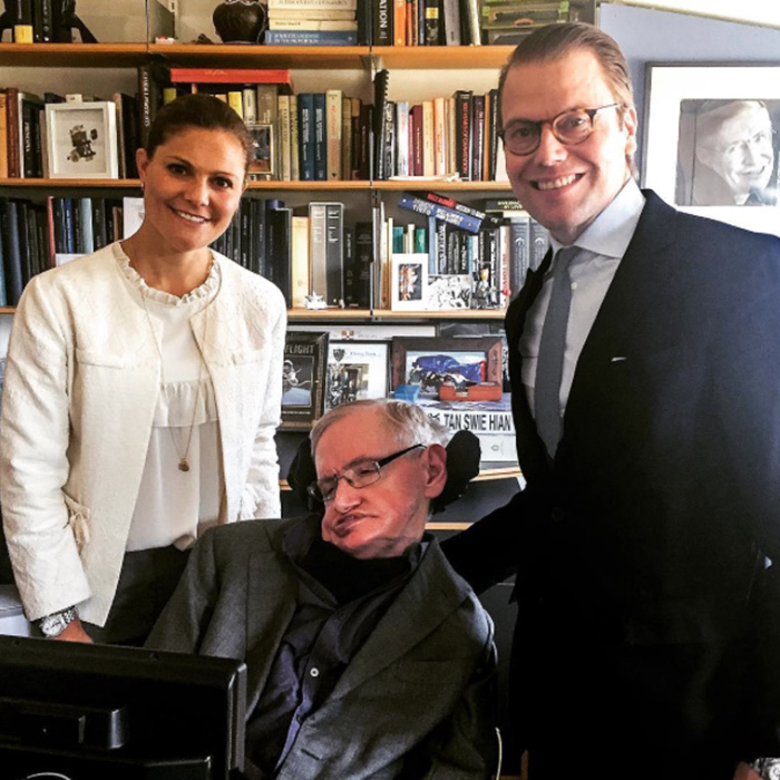 Crown Princess Victoria and Prince Daniel of Sweden met with legendary scientist Stephen Hawking in Cambridge. The Prince and Mr. Hawking have been collaborating on a project which helps encourage people to do more physical activity to help prevent diseases related to sedentary lifestyles.<br>Photo: &copy; Instagram