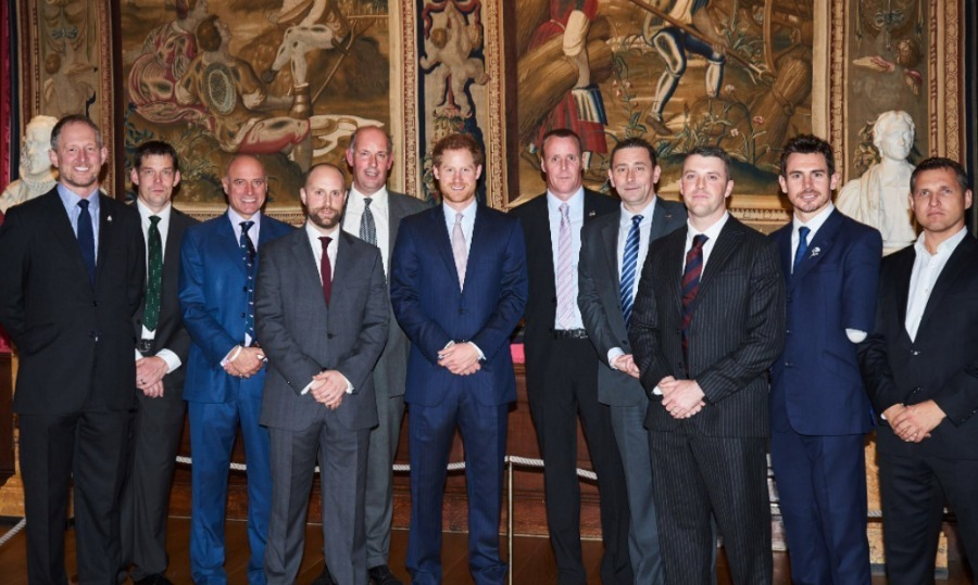 Prince Harry attended the Walking with the Wounded ceremony at Kensington Palace, where he chatted with ex servicemen and women who took part in the charity walk, which is dedicated to re-training wounded warriors.<br>Photo: &copy; Twitter