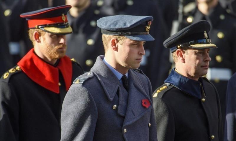 Prince Harry, Prince William and their uncle Prince Edward all stepped out on November 13 for the annual Remembrance Sunday Service at the Cenotaph memorial in Whitehall.<br>Photo: &copy; Empics Entertainment