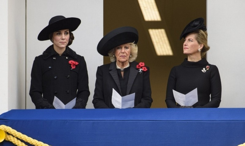 Duchesses Kate and Camilla and the Countess of Wessex joined their husbands during the Sunday outing in similar black coats with poppy pins.<br>Photo: &copy; Empics Entertainment