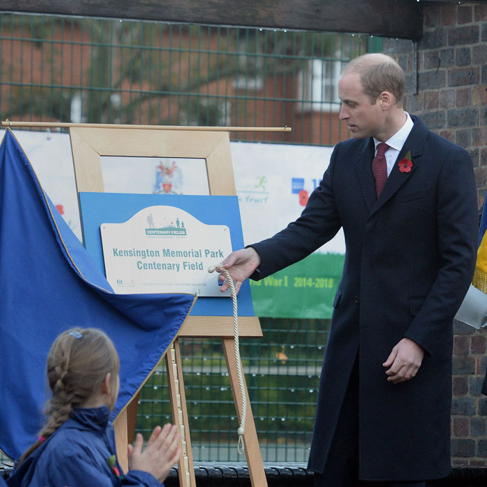 "<p>Prince George's father unveiled a plaque at Kensington Memorial Park. ""[This] will honour the fallen of World War I by safeguarding, forever, memorial parks and gardens as public spaces to be valued and enjoyed by their local community,"" William said in a speech.</p>