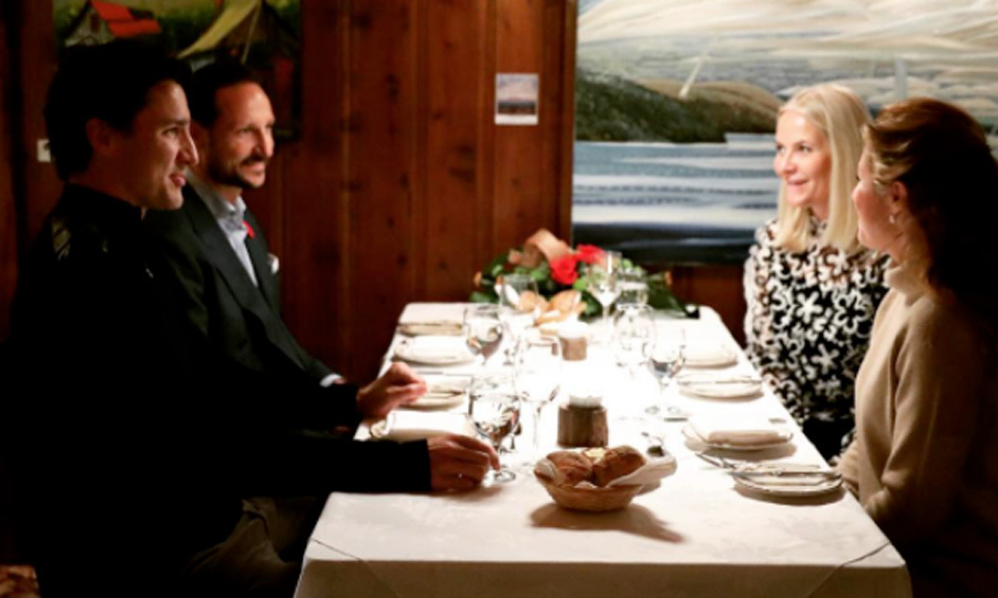 "<p>""Dinner with the Trudeaus."" Crown Prince Haakon and Crown Princess Mette-Marit of Norway kicked off their visit to Canada with a ""private dinner"" with Prime Minister Justin Trudeau and his wife Sophie. The royals are visiting the country to focus on the challenges in the Arctic and how innovative Norwegian companies can get into the Canadian market.</p><p>Justin shared a photo from the evening with his country's royal guests, writing, ""Welcome to Norway's Crown Prince Haakon and Crown Princess Mette-Marit &mdash; thanks for the good company and conversation tonight!""</p><br>Photo: &copy; Adam Scotti"