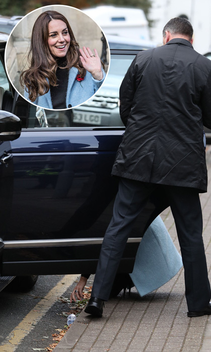 The Duchess of Cambridge showed she's more down to earth than ever! After dropping her water bottle in the street when she arrived at the Nelson Trust Women's Centre in Gloucester, she didn't miss a beat as she turned around and crouched down herself to get it.<br>Photo: &copy; PA