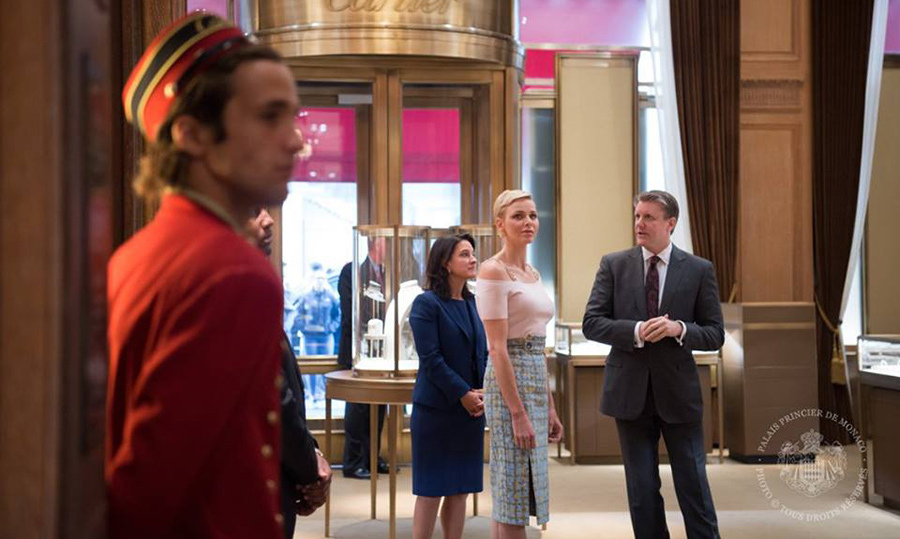 During her stay in New York City, Princess Charlene of Monaco paid a visit to the Cartier store on Fifth Avenue as part of her work with the Princess Grace Foundation.<br>Photo: &copy; Prince Palace
