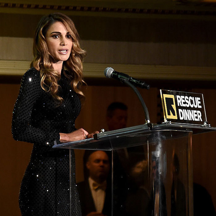 Queen Rania of Jordan returned to the Big Apple to deliver remarks at the International Rescue Committee's annual Rescue Dinner held at the Waldorf Astoria Hotel.<br>Photo: &copy; Getty Images