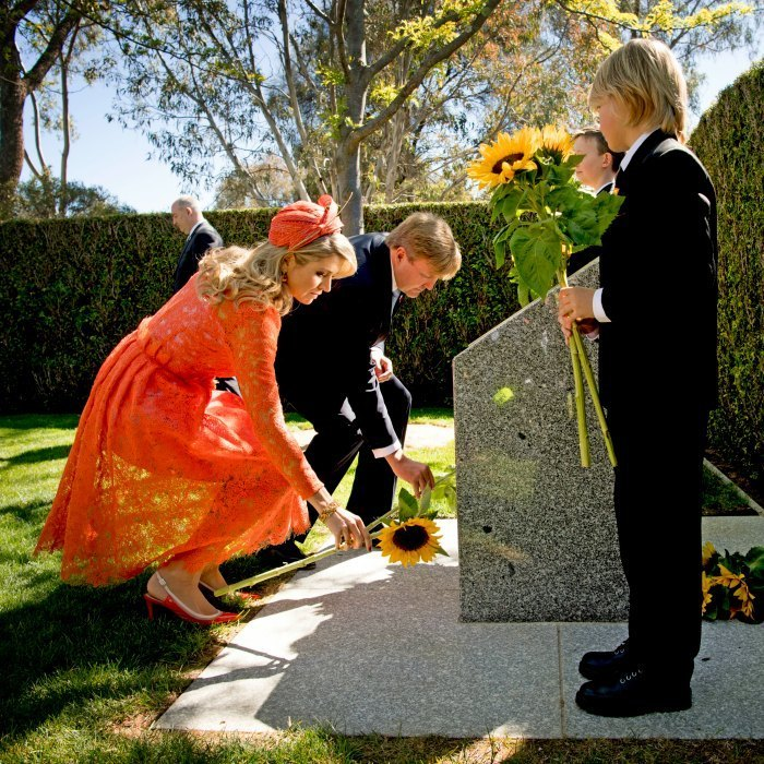 King Willem-Alexander and Queen Maxima paid their respects to the victims of the 2014 MH17 plane disaster, while visiting the MH17 monument, during their state visit to Australia.<br>Photo: &copy; PA