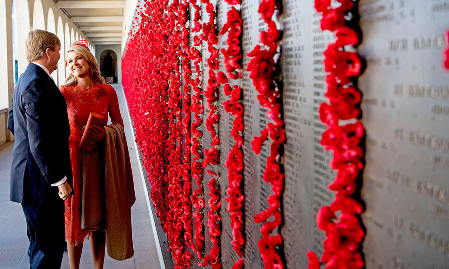 The Dutch monarchs shared a sweet moment as they observed the Poppy Wall at the War Memorial in Canberra, Australia.<br>Photo: &copy; PA