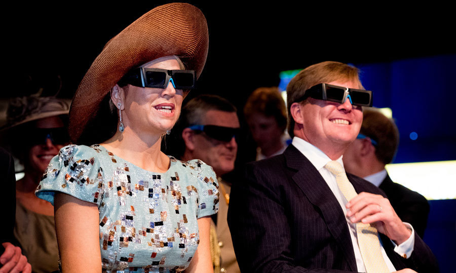 Nothing shady here! The Dutch royals donned glasses for a video presentation at Curtin University in Perth, Australia.<br>Photo: &copy; PA