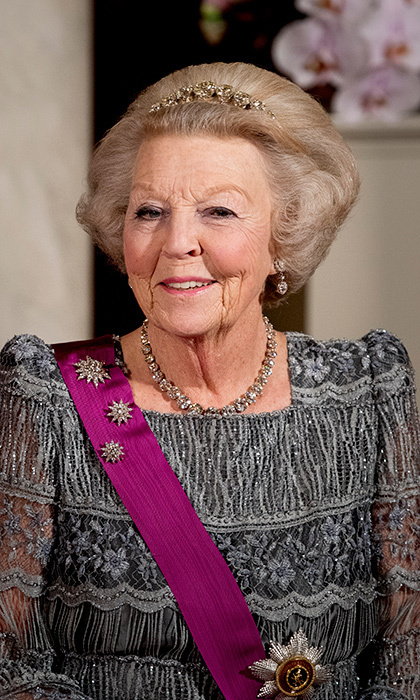 <h2>Queen Beatrix of the Netherlands</h2><p>Shine bright like a diamond! King Willem-Alexander's mother Queen Beatrix proved less is more in the Dutch Diamond Bandeau. She paired the simply elegant headband with diamond and pearl earrings, a diamond necklace and three of the family's diamond stars.<br>Photo: PA</p>