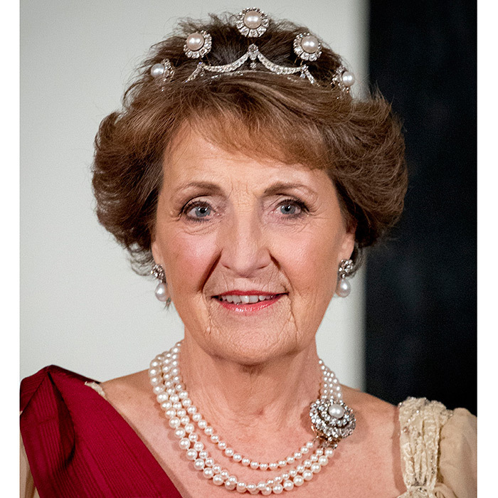 <h2>Princess Margriet of the Netherlands</h2><p>Princess Margriet, the daughter of Queen Juliana, wore the same royal heirloom she donned on her wedding day, the Pearl Button tiara. Queen Máxima wore the headpiece on her wedding day as well, with diamond stars replacing the five eye-popping pearl brooches that adorn the original tiara.<br>Photo: &copy; PA</p>