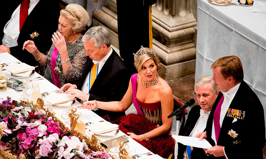 Queen Máxima attentively watched her husband King Willem-Alexander speak at a state banquet held at the royal palace in Amsterdam.