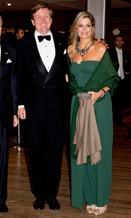 Queen Máxima looked gorgeous in a green, full-length gown, beside her husband King Willem-Alexander at a concert in The Hague, Netherlands.