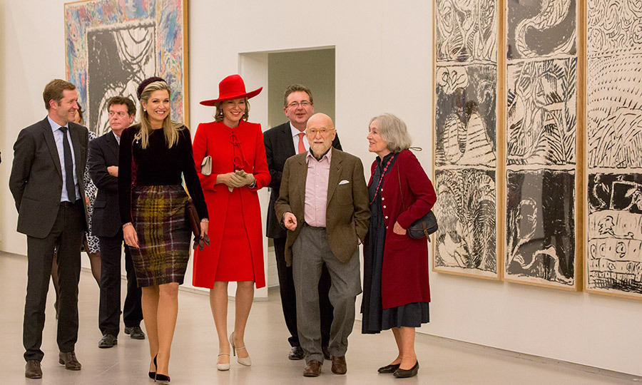 It was another stylish outing for Queen Mathilde (in red) and Queen Máxima. The royals visited the Pierre Alechinsky Post Cobra exhibition at the Cobra Museum on the second day of the Belgian royals' visit to the Netherlands.