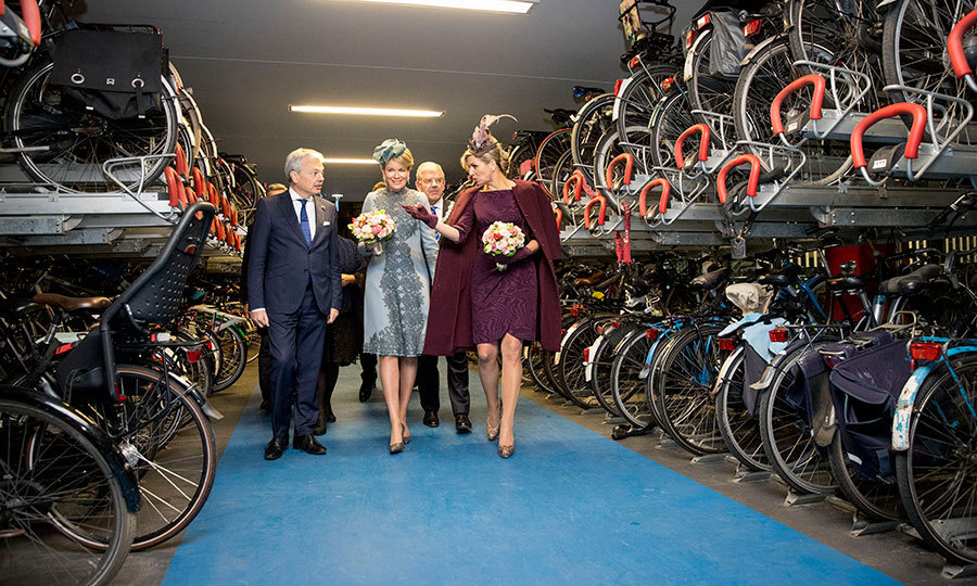Máxima and Mathilde viewed bikes on the last day of the Belgian monarchs' visit to Holland. The women visited the Sligro Food Group Netherlands B.V. and attended the opening of the inspiratielab ZiN in Utrecht.