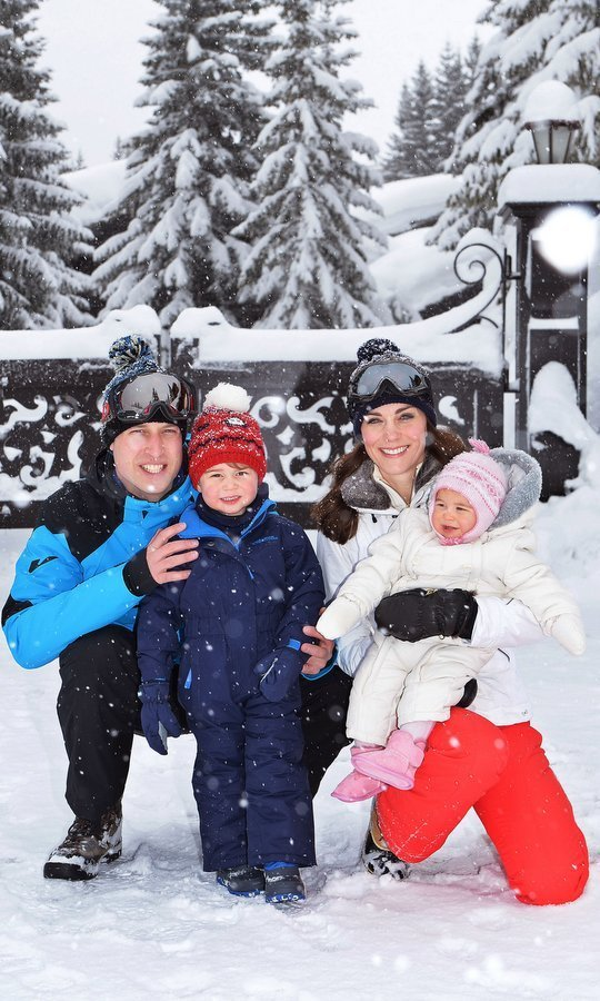 March 2015: Prince William and Kate had some family fun during their snowy vacation with little George and Charlotte in the French Alps.