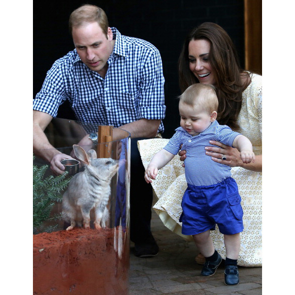 April 2014: Prince William and Kate took George out for a day at the zoo during their tour of Australia.