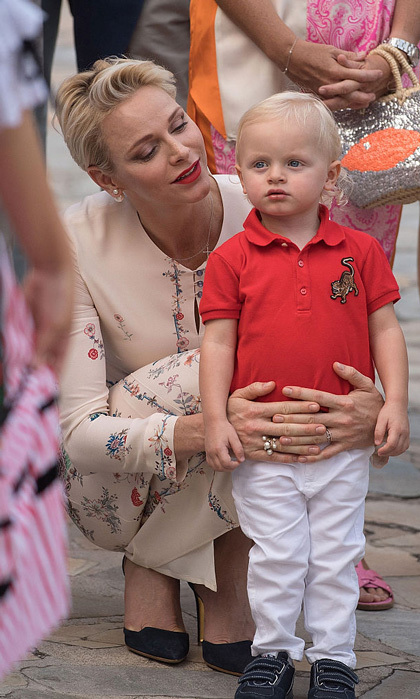 September 2016: Wearing his picnic best! Prince Jacques of Monaco was dressed to the nines sporting a red polo and white pants for the annual traditional pique-nique Monégasque with his mom Princess Charlene.