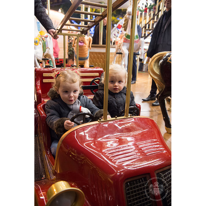 The kids took a spin in a mini firetruck. 