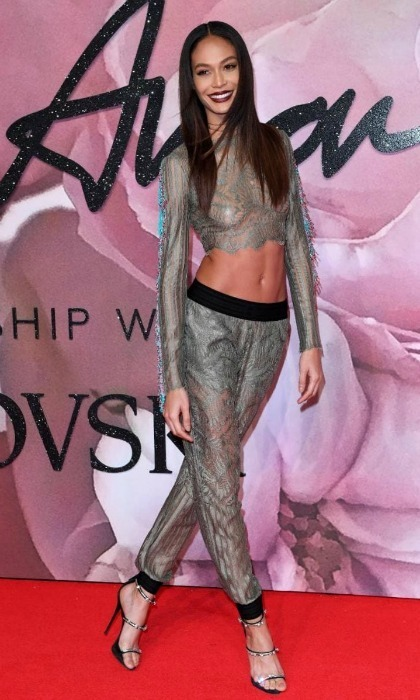 December 5: Joan Smalls was on trend in a matching cropped top and pants set by Baja East during the 2016 British Fashion Awards in London. 