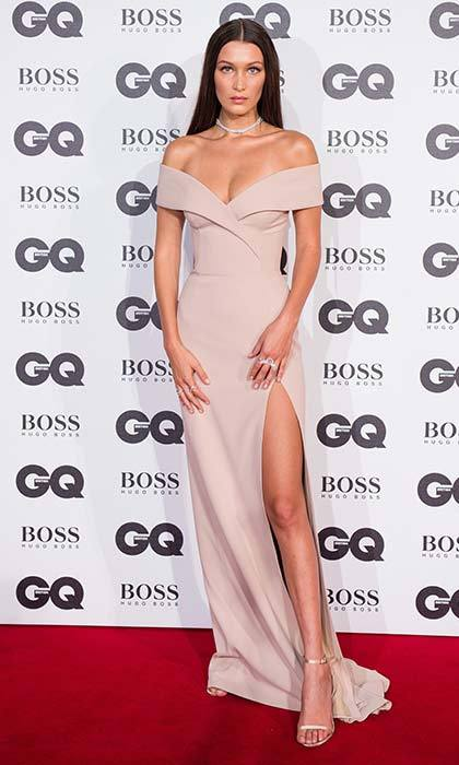 The model mixes it up in a dusty-pink off-the-shoulder gown at the GQ Awards.
