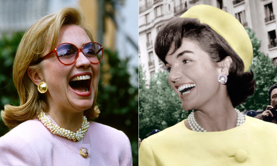 <h2>Hillary Clinton</h2><p>Even back in the '90s when she was First Lady, Hillary wore a lot of pantsuits – which helped form the cheeky narrative that she wore the trousers during husband Bill's presidency. Her taste for tailored power suits, complete with oversized buttons (albeit with pants, rather than skirts), was a direct nod to the looks Oleg Cassini had fashioned for Jackie Kennedy, and the two shared a liking for bold accessories as well. (Pearls and the White House go hand-in-hand, it seems!) In more recent months, Hillary's distinctive look led her supporters to dub themselves 'Pantsuit Nation.'</p>