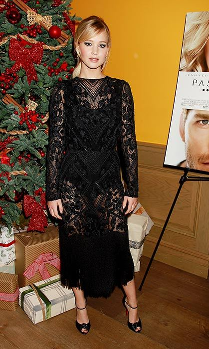 Jennifer Lawrence looked stunning in this sheer lace top and skirt.
