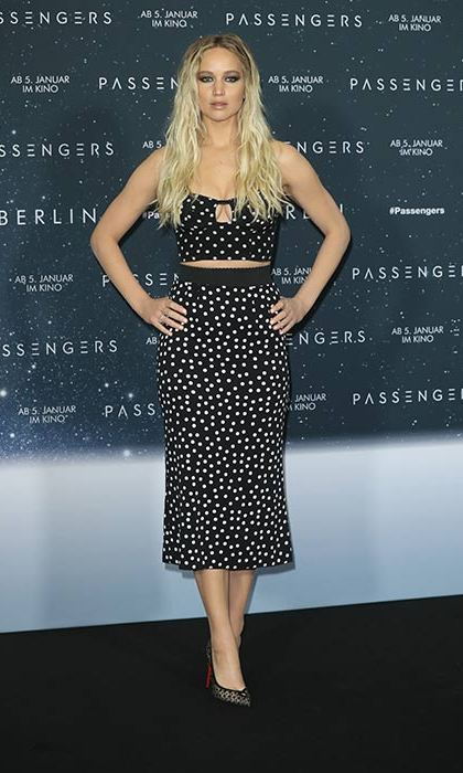 The actress wore a Dolce & Gabbana two-piece at the <em>Passengers</em> Berlin premiere.