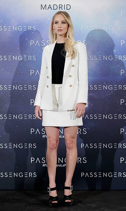 Jennifer wore a 3.1 Philip Lim skirt suit in Madrid.