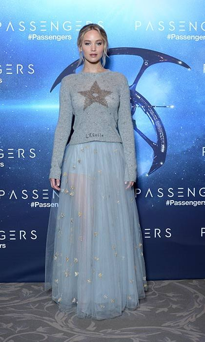 The actress wowed in a sweater and tulle skirt by Dior in Paris.