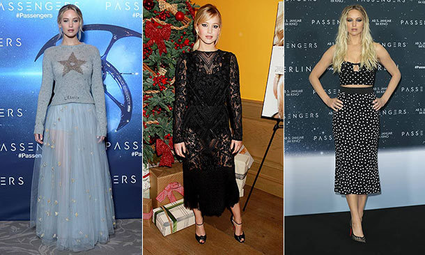Jennifer Lawrence and Chris Pratt are on the global promotion trail with their latest film, <em>Passengers</em>, and the actress has rocked a parade of fittingly out-of-this-world looks to introduce the sci-fi thriller. Click through to see all her best looks!