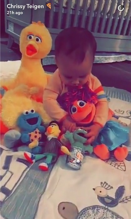 Luna Stephens spent some quality time with her new Sesame Street squad after getting a special shout out from Elmo and the gang while her daddy John Legend filmed a segment. 