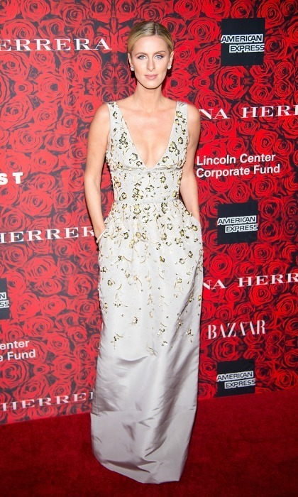 December 6: Nicky Hilton had a House of Herrera moment in an embellished dress during the event in honour of Carolina Herrera at Lincoln Center in NYC. 