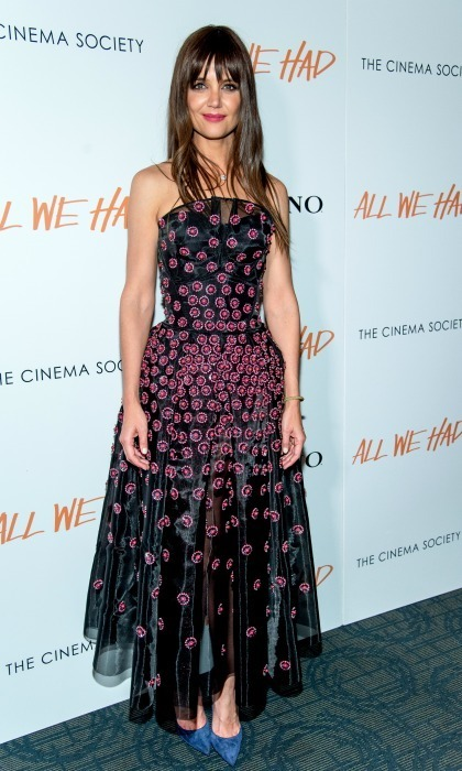 December 6: Katie Holmes wore a dress by Zac Posen and sported new bangs during the Cinema Society screening of her new film All We Had sponsored by Ruffino in NYC. 