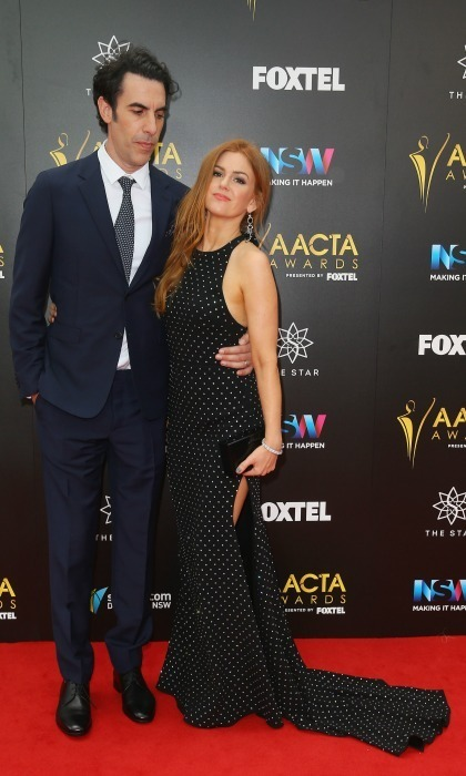 "December 6: Sacha Baron Cohen stood by his wife and ""Trailblazer Award"" winner Isla Fisher on the carpet during the AACTA Awards in Sydney, Australia. Sasha took a tip from his wife's style book and matched his tie with her elegant gown. 