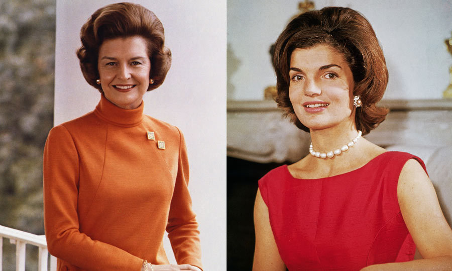 <h2>Betty Ford</h2><p>An outspoken feminist during her tenure as First Lady in the '70s, Betty had a White House wardrobe that reflected modern trends - though her signature bouffant was definitely reminiscent of Jackie's hairstyle from more than a decade earlier. Betty's love of tailored jackets and silk scarves (she had over 700 of them!) was imitated by legions of women.