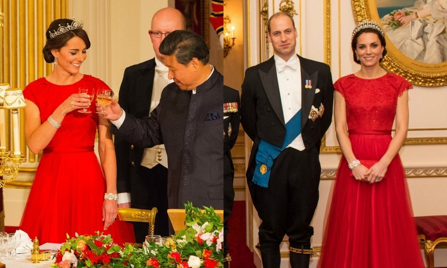 Formal for the win! Kate first stunned in this red Jenny Packham gown with embellished bodice and cap sleeves during her first-ever state banquet in October 2015, where she paired it with the Lotus Flower Tiara. The duchess brought the gorgeous gown back out in December 2016 for the Queen's annual Diplomatic Reception at Buckingham Palace, this time wearing her late mother-in-law Princess Diana's beloved Cambridge Lover's Knot Tiara and opting to style it with just one diamond bracelet.