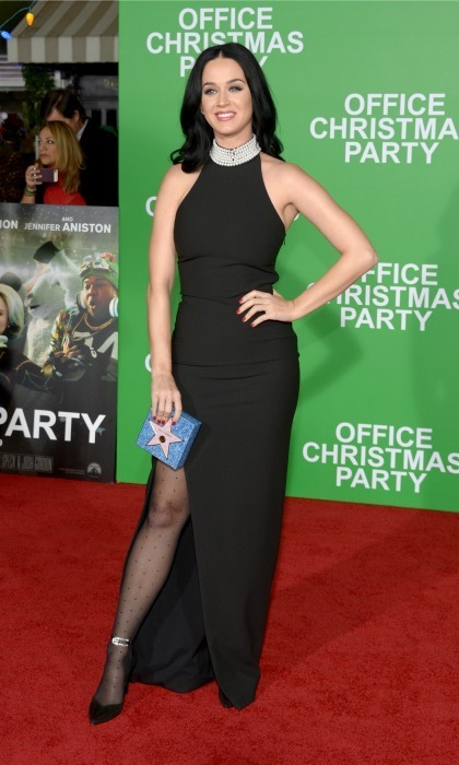 December 7: Katy Perry showed a lot of leg in a black dress at the premiere of <em>Office Christmas Party</em> in Westwood, California. 