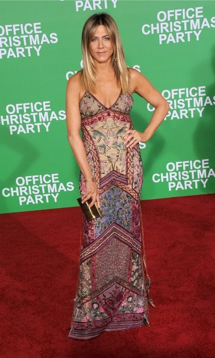 December 7: Jennifer Aniston wore a multi-coloured gown by Roberto Cavalli during the premiere of <em>Office Christmas Party</em> in Westwood, California. 