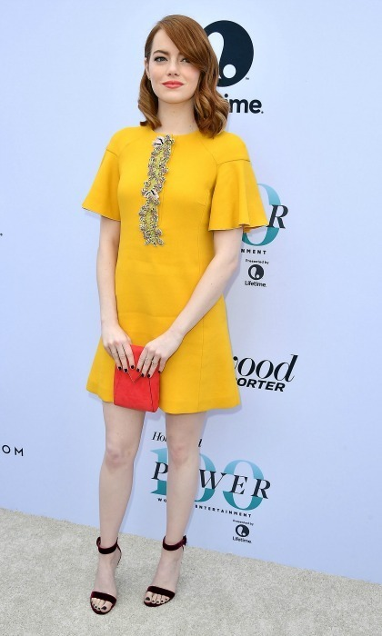 December 7: Emma Stone was a ray of golden style in a shift dress by Giambattista Valli and the Portofino sandals by Gianvito Rossi during The Hollywood Reporter's Women in Entertainment breakfast in L.A. 