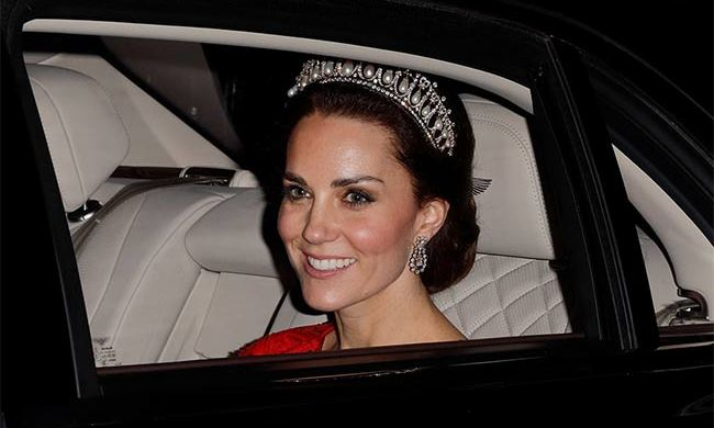 Kate wore the Cambridge Lover's Knot Tiara.