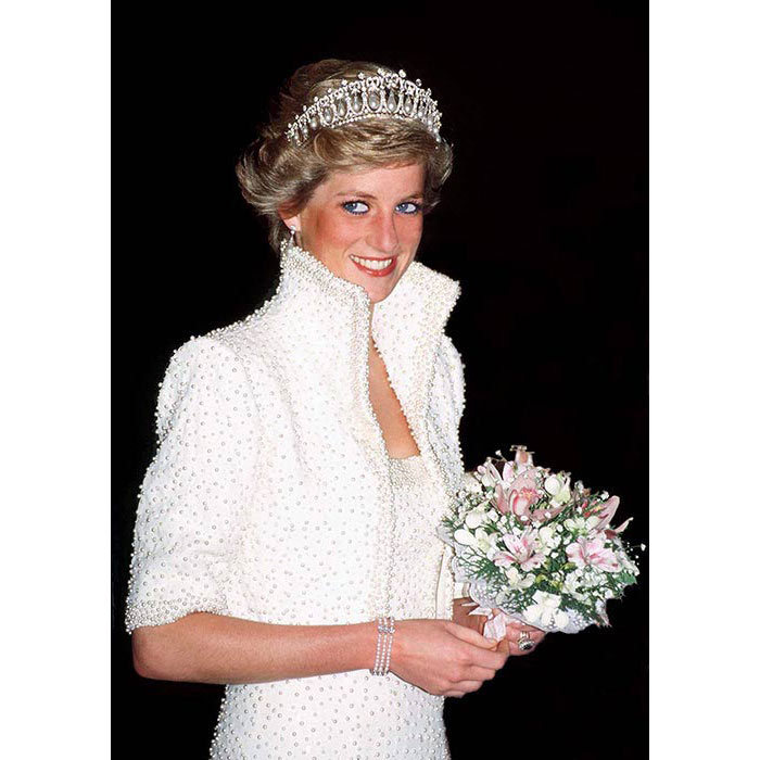 The tiara previously belonged to Princess Diana.