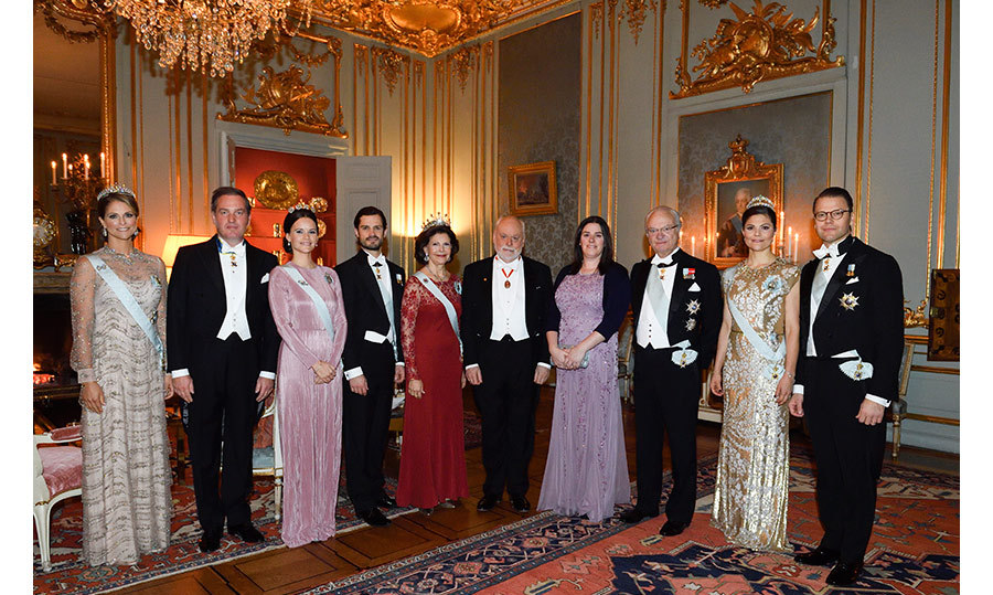 King Carl Gustaf was joined by his family as he hosted an annual reception for Nobel laureates at the Royal Palace in Stockholm on Dec. 11. 