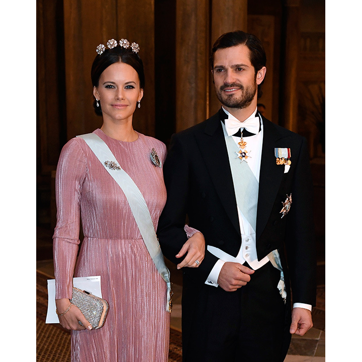 Princess Sofia looked stunning in pink and a tiara as she attended the reception on the arm of her husband Prince Carl Philip. 